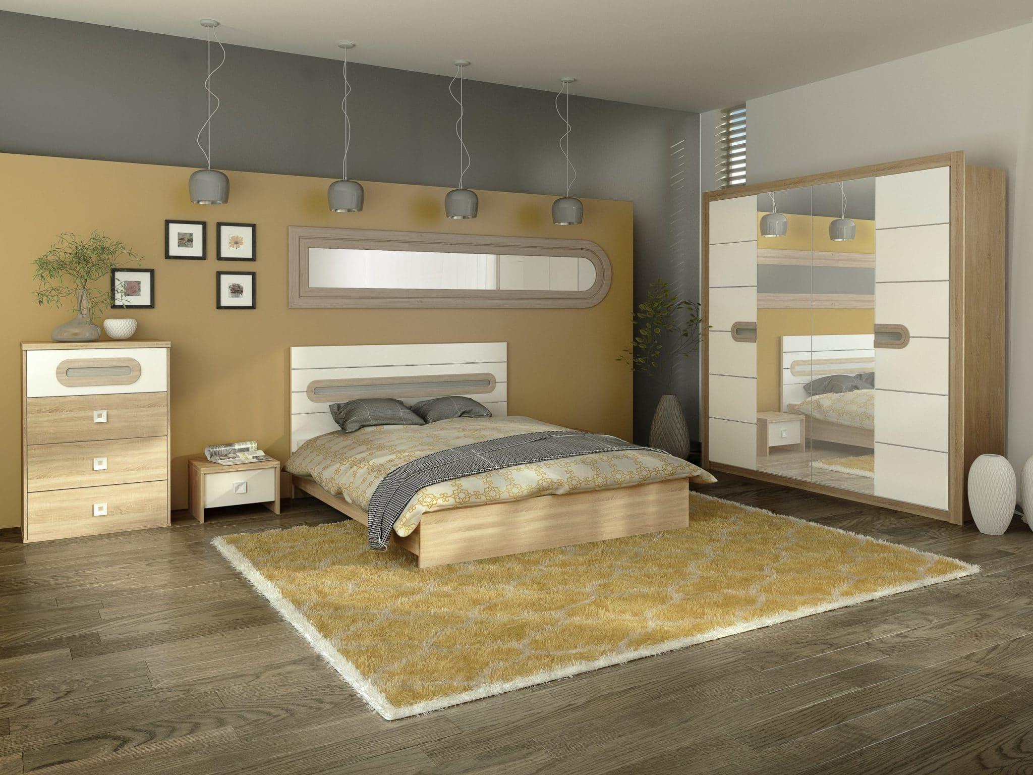 set Dormitor Kent 5 piese complet dulap mare cu oglinda