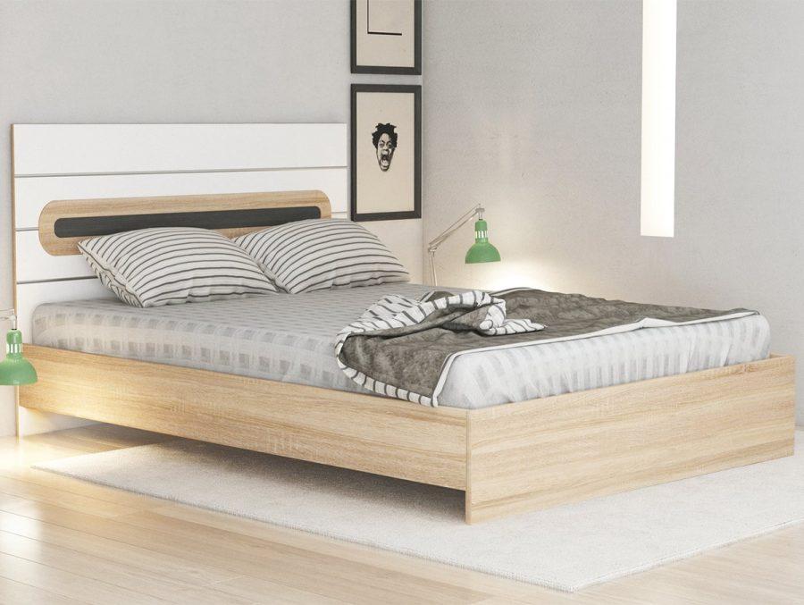 pat matrimonial 160 x200 alb lemn