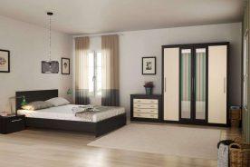 Set Dormitor Coral dulap cu oglinda, pat noptiere