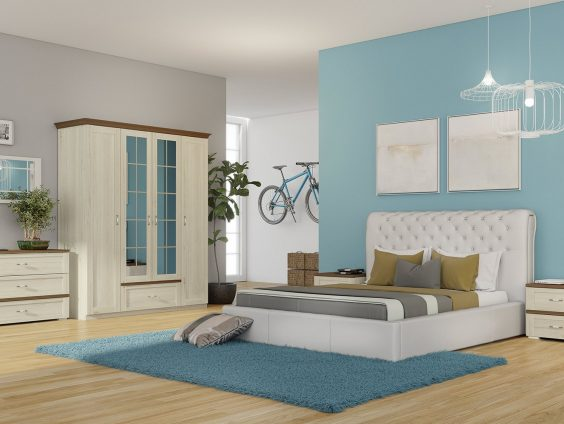 Set Dormitor Melody 4 Usi pat tapitat alb