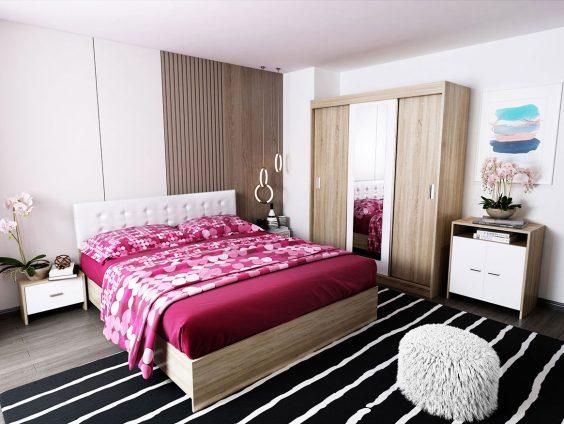 Oferta Set Dormitor Bingo Tapitat Alb