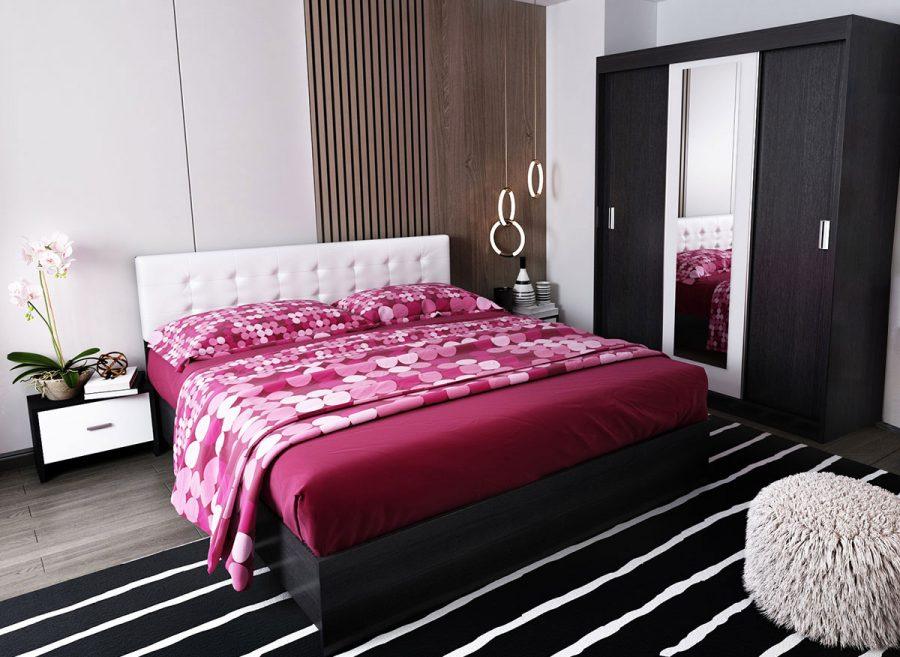 Oferta Set Dormitor Bingo F Tapitat Alb - 4 piese