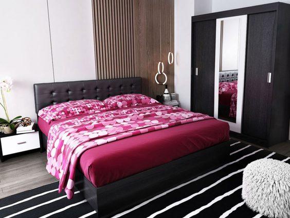 Oferta Set Dormitor Bingo F Tapitat Negru - 4 piese