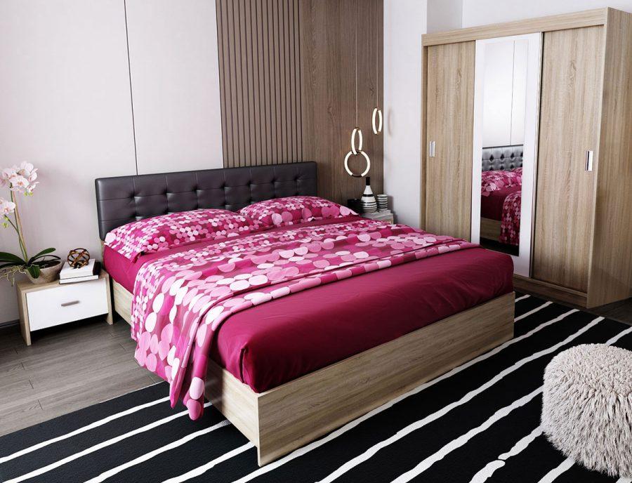 Oferta Set Dormitor Bingo Tapitat Negru - 4 piese