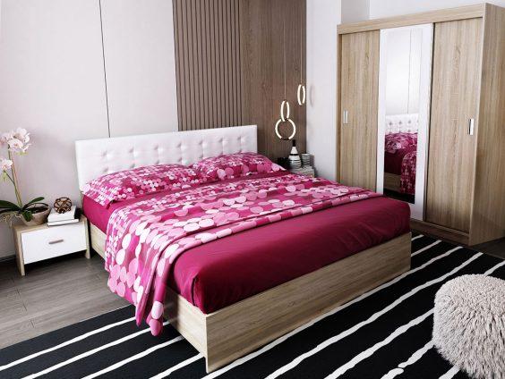 Oferta Set Dormitor Bingo Tapitat Alb - 4 piese - Pat 140, 160 sau 180x200cm, 2 Noptiere si Dulap cu 3 usi + oglinda. Transport Gratuit in 4-10 zile