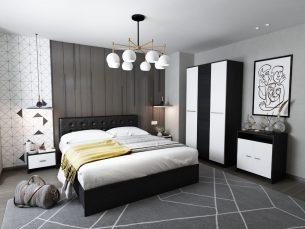 Set Dormitor Mario 3U tapitat negru