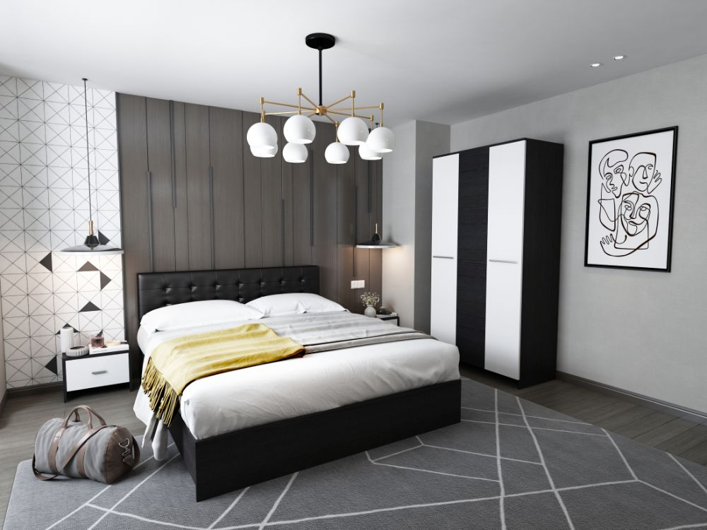 Set Dormitor Mario 3U 4 piese tapitat negru