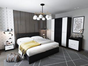 Set Dormitor Mario 4U tapitat negru