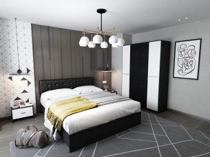 Set Dormitor Mario 4U 4 piese tapitat negru