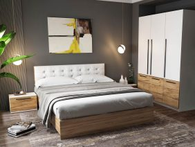 Set Dormitor Timea - 4 piese - Tapitat Alb