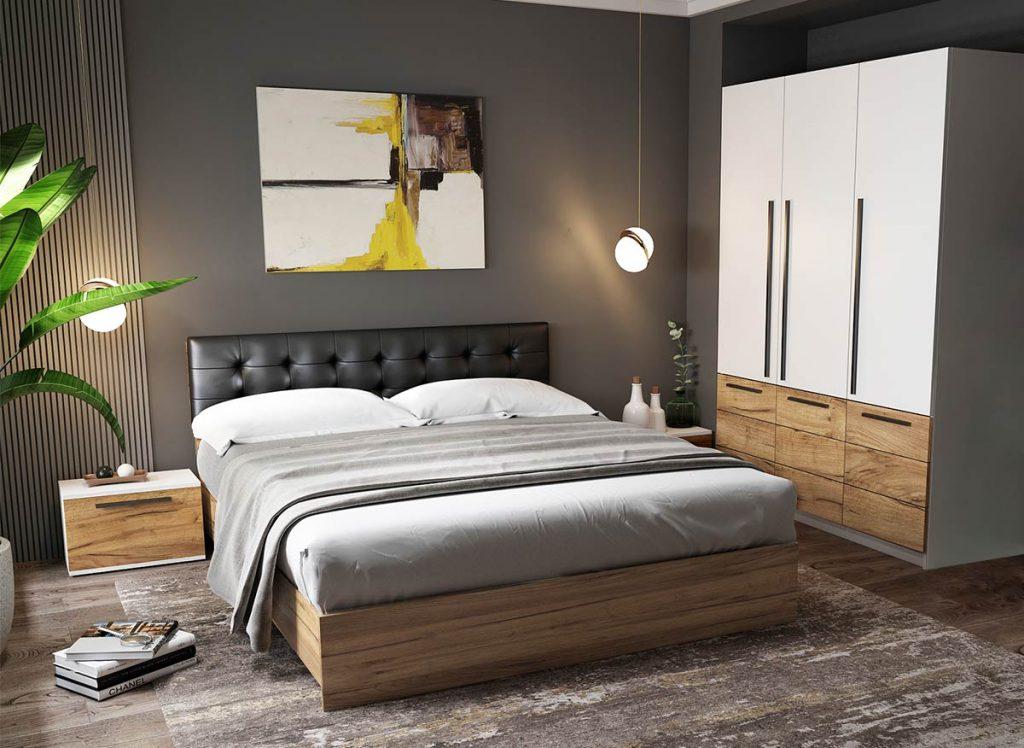 Set Dormitor Timea - 4 piese - Tapitat Negru