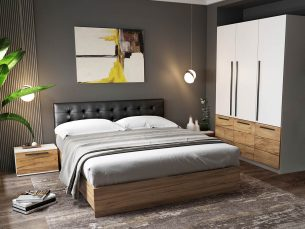 Set Dormitor Timea 4 piese Tapitat Negru