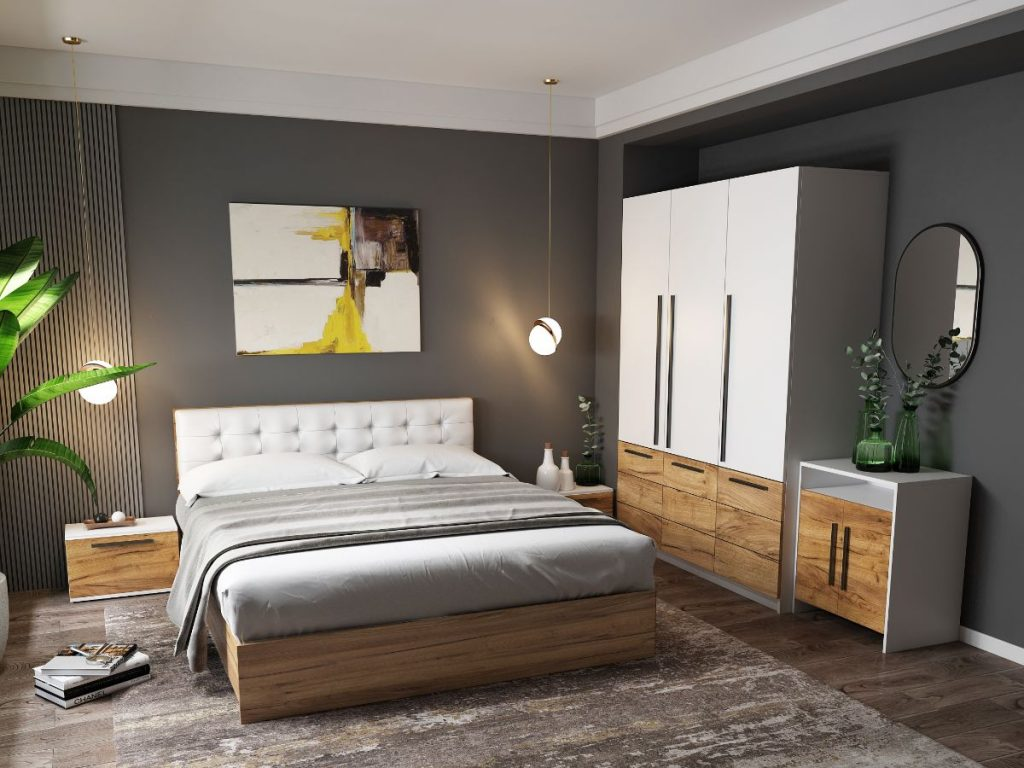 Set Dormitor Timea - 5 piese - Tapitat Alb