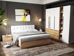 Set Dormitor Timea 6 piese Tapitat Alb