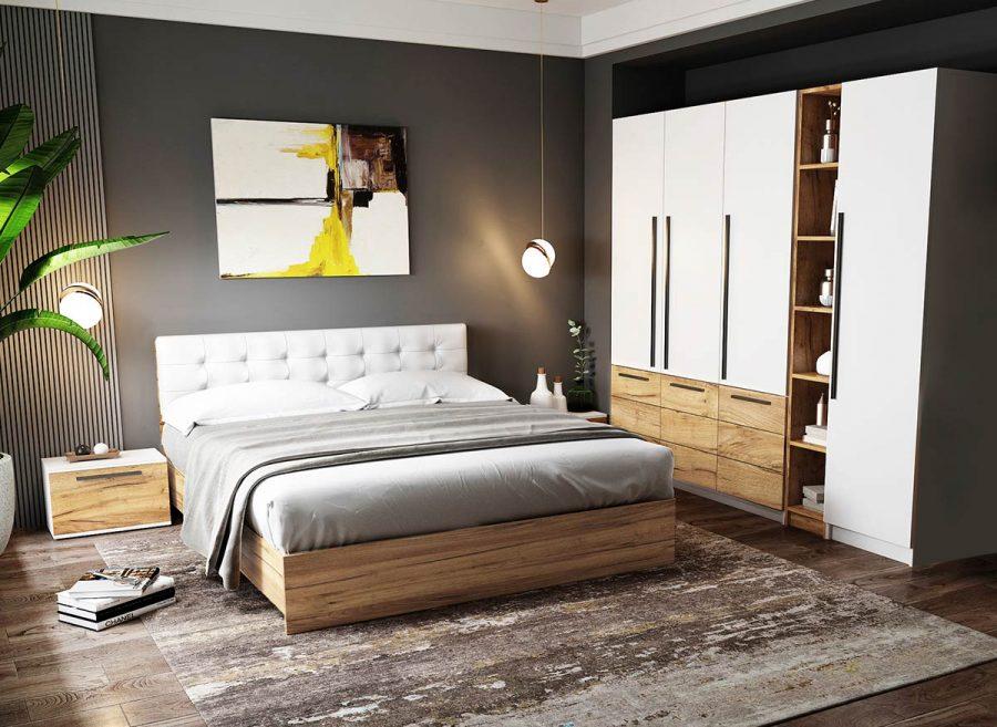 Set Dormitor Timea - 6 piese - Tapitat Alb