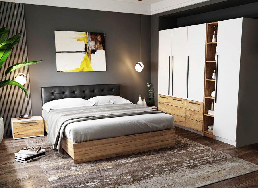 Set Dormitor Timea - 6 piese - Tapitat Negru