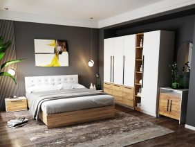 Set Dormitor Timea - 7 piese - Tapitat Alb