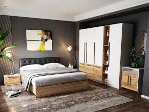 Set Dormitor Timea 7 piese Tapitat Negru