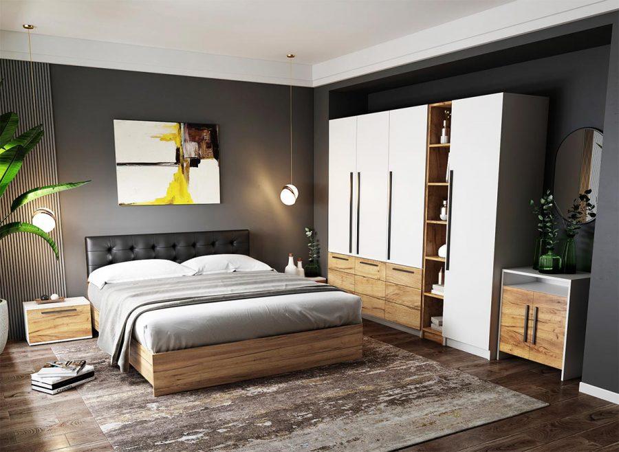 Set Dormitor Timea - 7 piese - Tapitat Negru