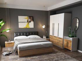 Set Dormitor Timea - 5 piese - Tapitat Negru