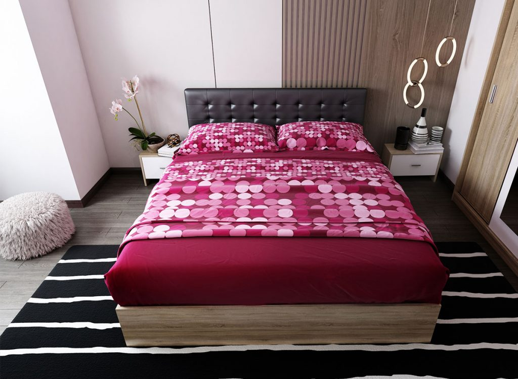 Pat 2 persoane - Set Dormitor Bingo Tapitat Negru