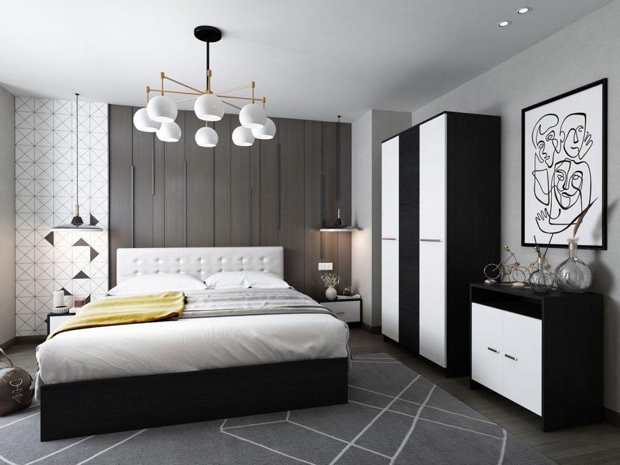 Oferta Dormitor Complet Mario Tapitat Alb