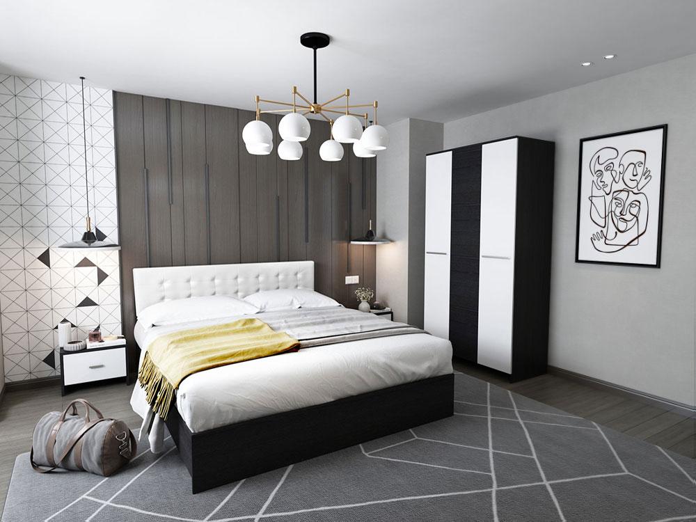 Set Dormitor Mario 3U 4 piese tapitat alb