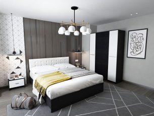 Set Dormitor Mario 4U 4 piese tapitat alb