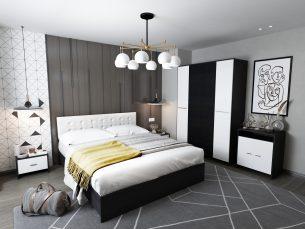 Set Dormitor Mario 4U tapitat alb