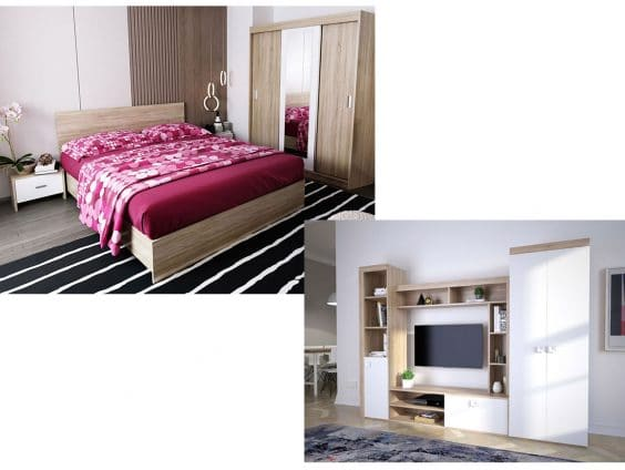 Pachet Dormitor Bingo Netapitat 4 piese + Living Clop Combo Sonoma
