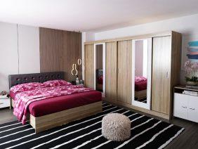 Set Dormitor Bingo Tapitat Negru Dulap Dublu