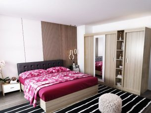 Oferta Set Dormitor Bingo Tapitat Negru 6 piese