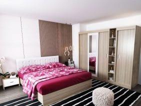 Oferta Set Dormitor Bingo Tapitat Alb 6 piese