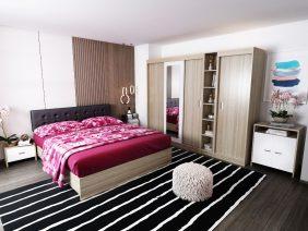 Oferta Set Dormitor Bingo Tapitat Negru 7 piese