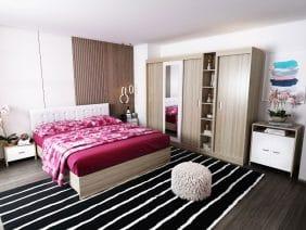 Oferta Set Dormitor Bingo Tapitat Alb 7 piese