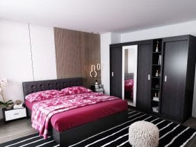 Oferta Set Dormitor Bingo F Tapitat Negru 6 piese