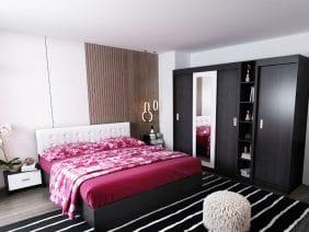 Oferta Set Dormitor Bingo F Tapitat Alb 6 piese
