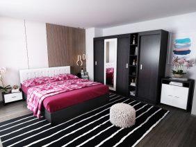 Oferta Set Dormitor Bingo F Tapitat Alb 7 piese