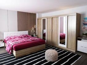 Set Dormitor Bingo Tapitat Alb Dulap Dublu