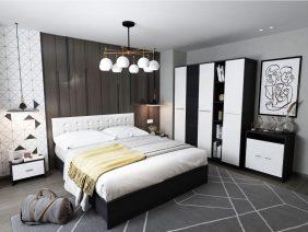 Oferta Dormitor Mario 6 piese Tapitat Alb
