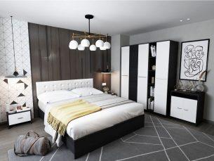 Set Dormitor Mario 3U 6 piese tapitat alb