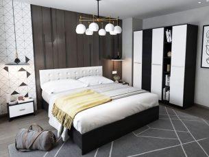 Set Dormitor Mario 3U 5 piese tapitata alb