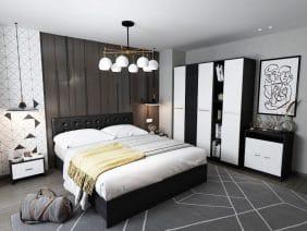 Oferta Dormitor Mario 6 piese Tapitat Negru