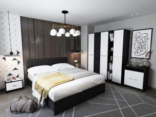 Set Dormitor Mario 3U 6 piese tapitat negru