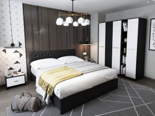 Set Dormitor Mario 3U 5 piese tapitata negru