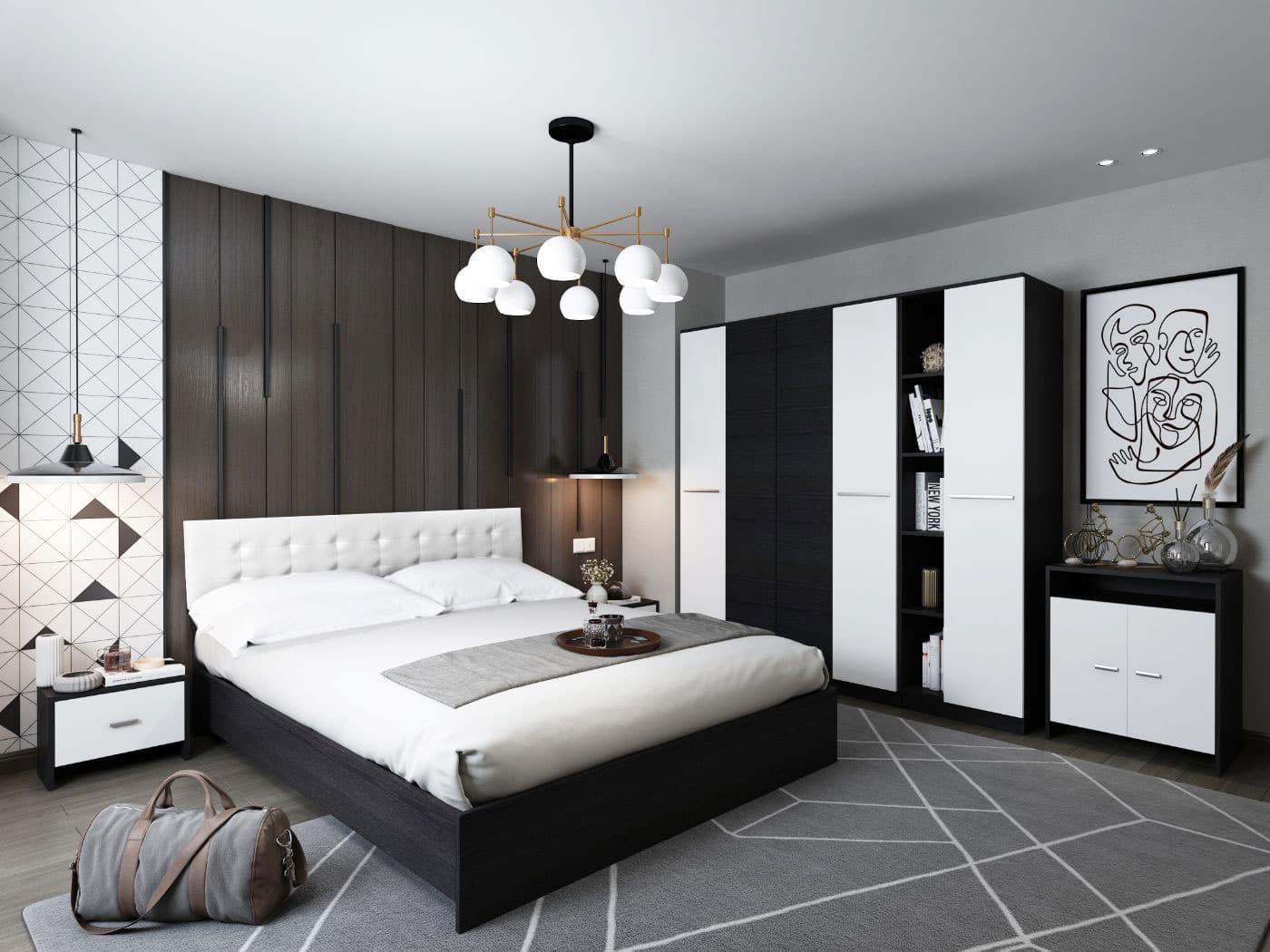 Set Dormitor Mario 4U 6 piese tapitat alb