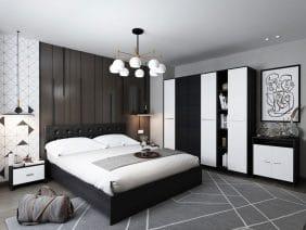 Oferta Dormitor Mario 6 piese 4U Tapitat Negru