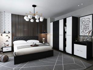 Set Dormitor Mario 4U 6 piese tapitat negru