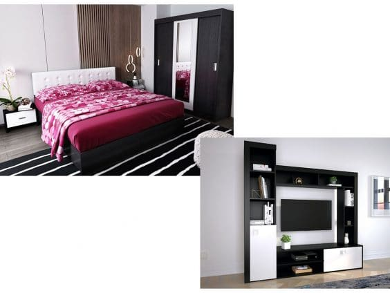 Pachet Dormitor Bingo F Tapitat Alb 4 piese + Living Clop