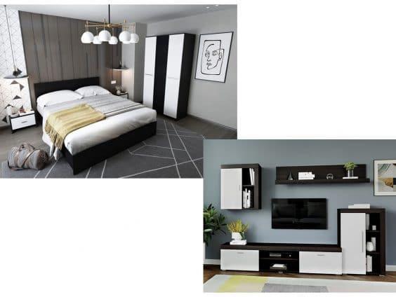 Pachet Dormitor Mario 3U 4 piese + Living Milan C2